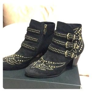Ash black suede booties w/brass studded hardware